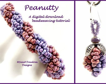 Peanut Bead Tutorial for Bracelet and Earrings, Double Spiral Beading Instructions