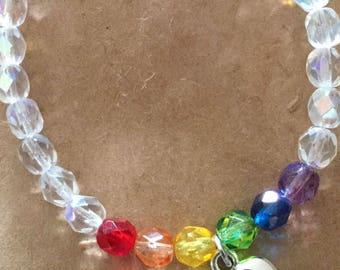 Pet Sympathy Bracelet, Rainbow Bridge, Czech Beads, In Loving Memory, Memorial Jewelry, Made in CA