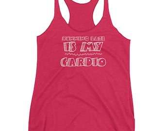 Runner's Racerback Tank Top - Running Late is My Cardio - Funny Workout Shirt - Fitness Gift for Runner, Yoga, Gym Rat, Weightlifter