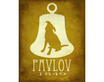 Pavlov's Dog Art Print 16x20 - Science Art Illustration, Steampunk Rock Star Scientist, Psychology Poster