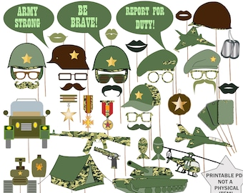 """Army  Photo Booth Props: """"MILITARY PROPS"""" Army Printable props,Military party props,Army theme party,Army  Photobooth,Boys party props"""