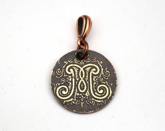 Small letter M pendant, round etched copper letter jewelry, 22mm