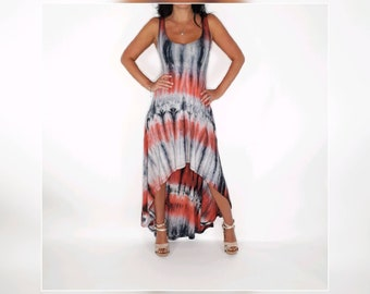 High low tie-dye maxi dress. This dress is super comfortable Falls nicely off the bust. it is very flattering in the waistline.