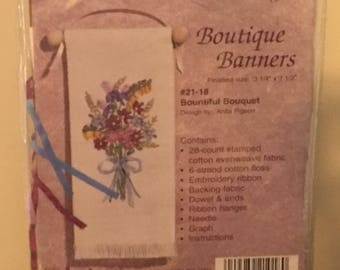 Janlynn Ribbon Embroidery Bountiful Bouquet Banner
