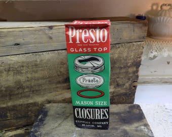 Vintage New Old Stock SEALED Presto Glass Top Closures Box and Contents Gold Colored Lids With Glass Inserts B1473