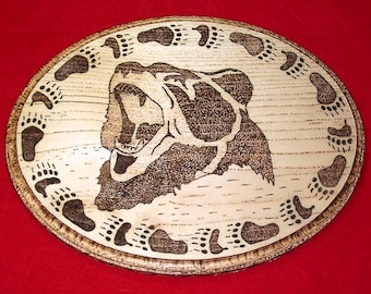 Native American Burned Wooden Wall Hanging ( Motto The Bear )