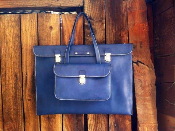 Bellagio 15 inch Genuine Leather MacBook Briefcase,Luxury Man Leather Bag,  Man HandBag, Man Navy Blue Briefcase,Leather Bag
