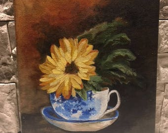 Acrylic flower and teacup canvas painting