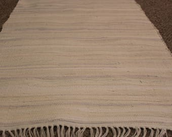 """Handcrafted White Rag Rug 25"""" x 35"""""""