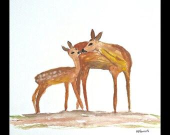 Fawn art painting fawn original watercolour fawn illustration woodland animal art nursery art deer painting fawn artwork 9 X 12 inch