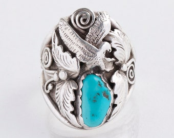Vintage Turquoise Ring - Vintage Navajo Men's Sterling Silver and Turquoise Eagle Ring