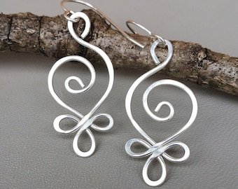 Celtic Sterling Silver Wire Earrings, Budding Spiral Earrings, Beauty Gift for Wife Celtic Jewelry, Celtic Earrings, Women Everyday Earrings