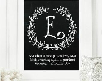 "Instant ""Family Monogram Scripture"" Chalkboard Wall Art Print 8x10 Typography Letter ""E"" Printable Home Decor"