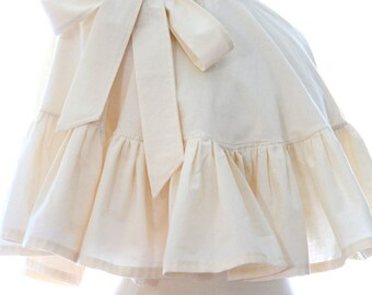 Women's Cape with Ruffles - Victorian Fashion Accessory in Ivory, Black, or White Cotton