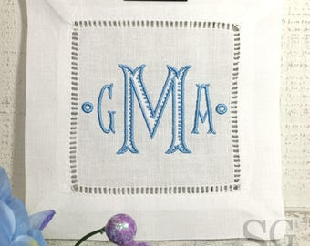 Chinoiserie MONOGRAM Cocktail Napkins. Wedding Gift. White Linen. BAROQUE Font. Housewarming Hostess Gift. Bar Cart Decor. Holiday Exchange.