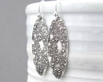 Dangle Silver Earrings Long Oval Earrings Floral Jewelry Sterling Silver Earrings Rustic Jewelry Bohemian Jewelry Silver Jewelry - Elena