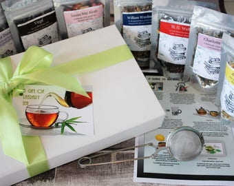 Literary Tea Box - Selection of Authors and Poets Bookish Gift - Authors Gift - Literary Gift