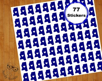 Mississippi Stickers, 77, Mississippi Planner Stickers, Mississippi Sticker Set, Mississippi Envelope Seals, State Stickers, MS Stickers
