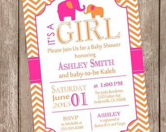 Hot pink and orange elephant baby shower invitation, hot pink, orange, chevron, girl elephant invite printable invitation, elephant5