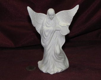 Ceramic Bisque U-Paint Small Angel With A Harp Unpainted Ready To Paint DIY