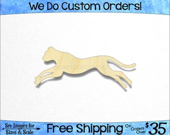 Leopard Cheetah Big Cat Shape - African Wildlife - Large & Small - Pick Size - Laser Cut Unfinished Wood Cutout Shapes Zoo (SO-0029-04)*2-36