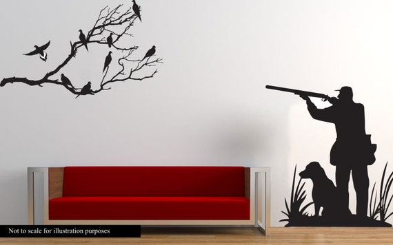 Dove Hunting Wall Decal Large Hunter And Dog Dove Hunting