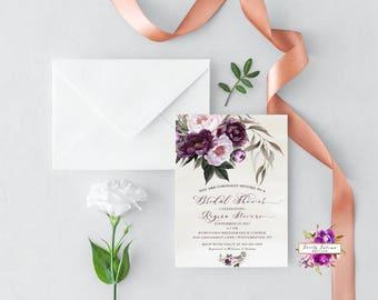 Dark Purple Bridal Shower - Watercolor Floral Bridal Shower - Bridal Shower Invitation - Printable Invitation - Digital Invitation