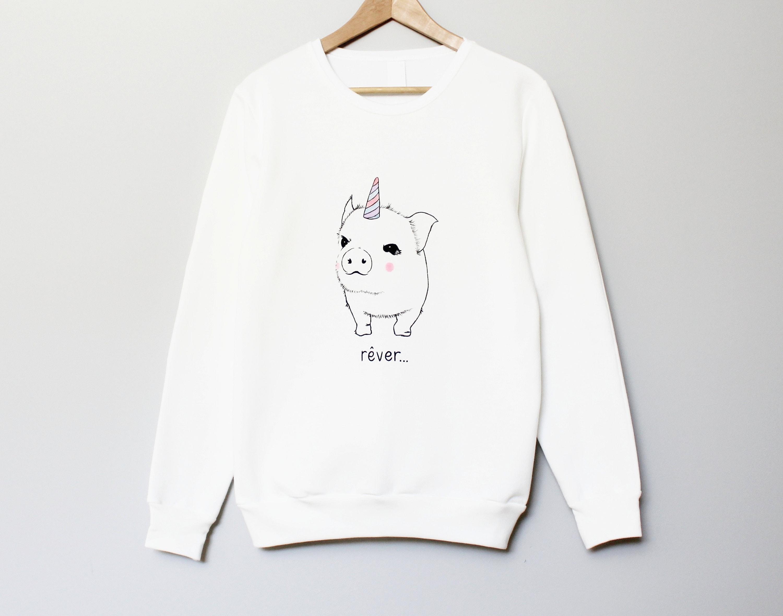 Pig unicorn hand painted t-shirt, UNISEX unipig pocket shirt, cute pastel minimalist pigicorn, unique wearable art, white grey tee crewneck
