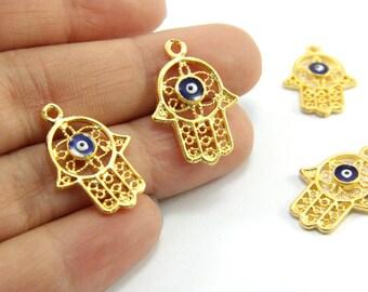 2pcs Gold Hamsa Charms, (22mm x 16mm) Gold Evil Eye Hamsa, 24k Matte Gold Plated Evil Eye Hamsa, Gold Brass Evil Eye Hamsa Charms / GPS-123