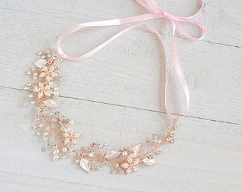 Rose Gold Bridal Headband, Crystal Flower Leaf Bridal Hair Accessories, Boho Hair Vine, Vintage Style Halo, Wedding Hair Jewelry, JESSICA