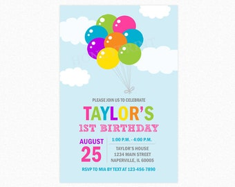 Balloon Birthday Party Invitation, Balloon Bouquet, Girl Birthday Invitation, Personalized, Printable JPEG/PDF or Printed