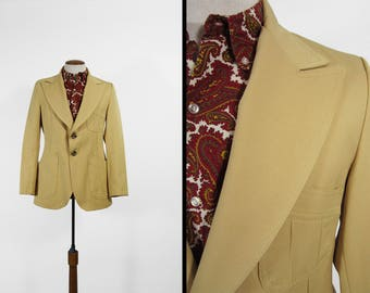 Vintage Belt Back Suit Jacket Beeswax Blazer 70s Does 30s Sportcoat - Size 40