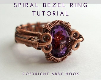Spiral Bezel Ring, Wire Jewelry Tutorial, PDF File instant download