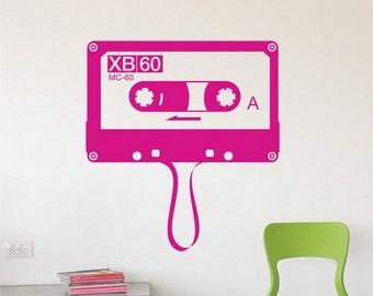 Retro Wall Decal Cassette Audio Cassette Mixtape Music Cassette Wall Decal