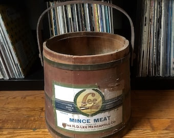 Vintage 1930s 1940s H.D. LEE Mercantile Mince Meat Wooden BUCKET Container Levis Workwear