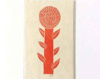 mini linocut - FLOWER // 3x5 art print // printmaking // block print // nature art // red // wildflower // original art // small, miniature