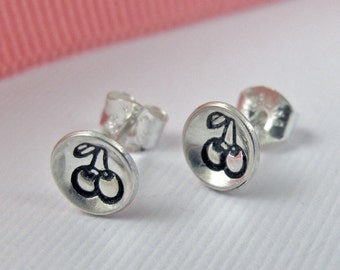 Bowl of Cherries Studs, Sterling Silver