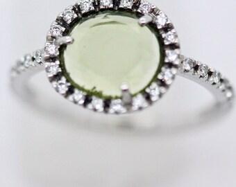 Pomellato Colpo di Fulmine 18k White Gold Peridot Diamond Ring Papers Box (#5950)