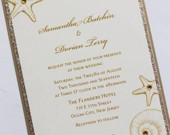 Beach Seashell Elegance Wedding Invitation