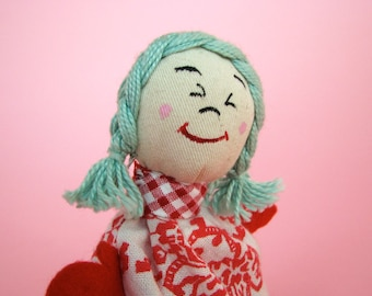 Bean Doll, vintage inspired, happy, sad face, Moody Milly