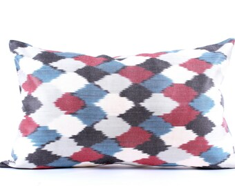 Ikat Pillow Cover, Decorative Pillows,  Couch  Pillows, Ikat Pillowcase, Silk, Eclectic Home Decor
