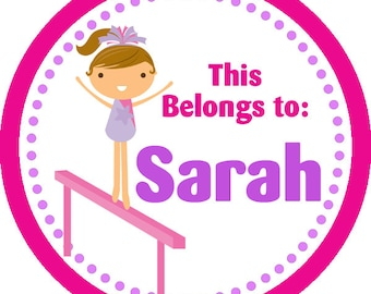 Personalized Name Stickers - Pink Purple Polka Dot Girl Gymnast Name Tag Stickers - 2 inch Round Labels - Perfect for Back to School Labels