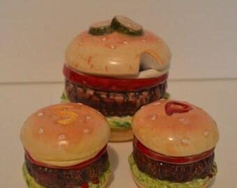 Hamburger Condiment Dish 3 piece set w/ Salt and Pepper Shakers