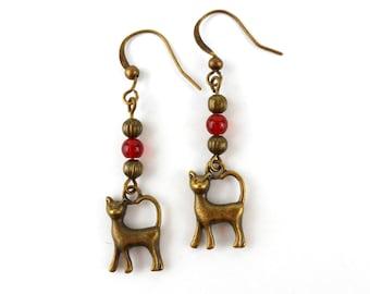 Cat Earrings with Red Carnelian gemstones in Antique Bronze