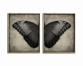Butterfly Print Set of 2 Printable Artwork, Gothic Home Decor Butterflies Wall Art Set of 2 Prints, Gothic Decor, Dark Art, Digital Download