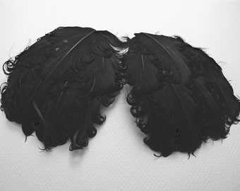 SOLID PURE BLACK Curly Feather Pad, Nagorie Feather Pads