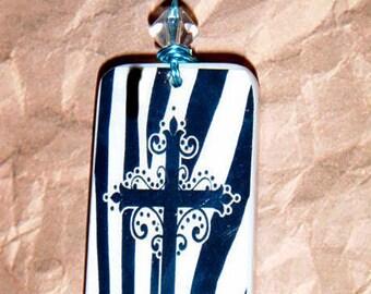 Cross My Heart Blue Zebra Domino Pendant Necklace 233