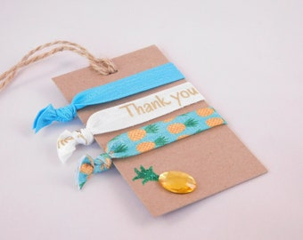 Hair Tie Party Favors - Thank You FOE's - Pineapple Ponytail Holders - Tropical Theme Party