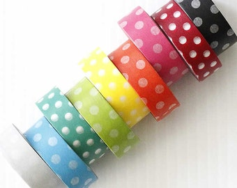 Large Dots Washi Tape (CHOOSE ONE) Gift Wrap Scrapbooking Embellishment