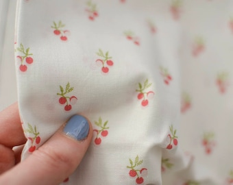 Laura Ashley vintage cherry fabric | Red cherry fabric | Lightweight Laura Ashley fabric | Vintage Laura Ashley cherry fabric, Free delivery
